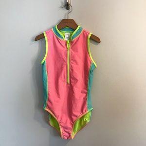 Cat & Jack Girls Neon Swimsuit Bathing Suit L